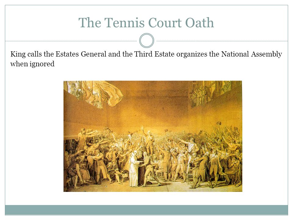 The Tennis Court Oath King calls the Estates General and the Third Estate organizes the National Assembly.