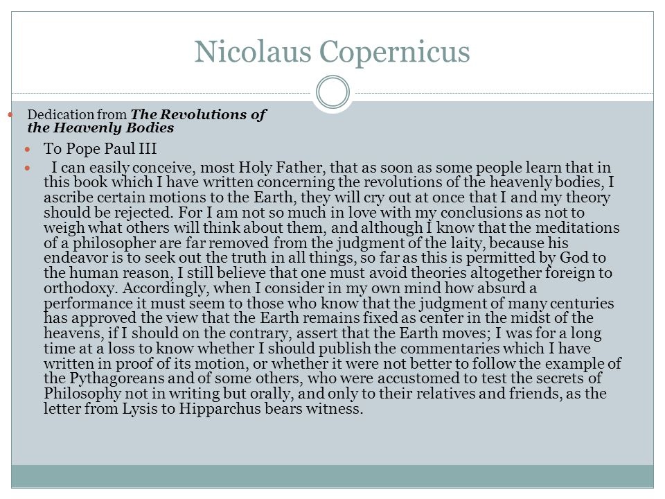 Nicolaus Copernicus To Pope Paul III