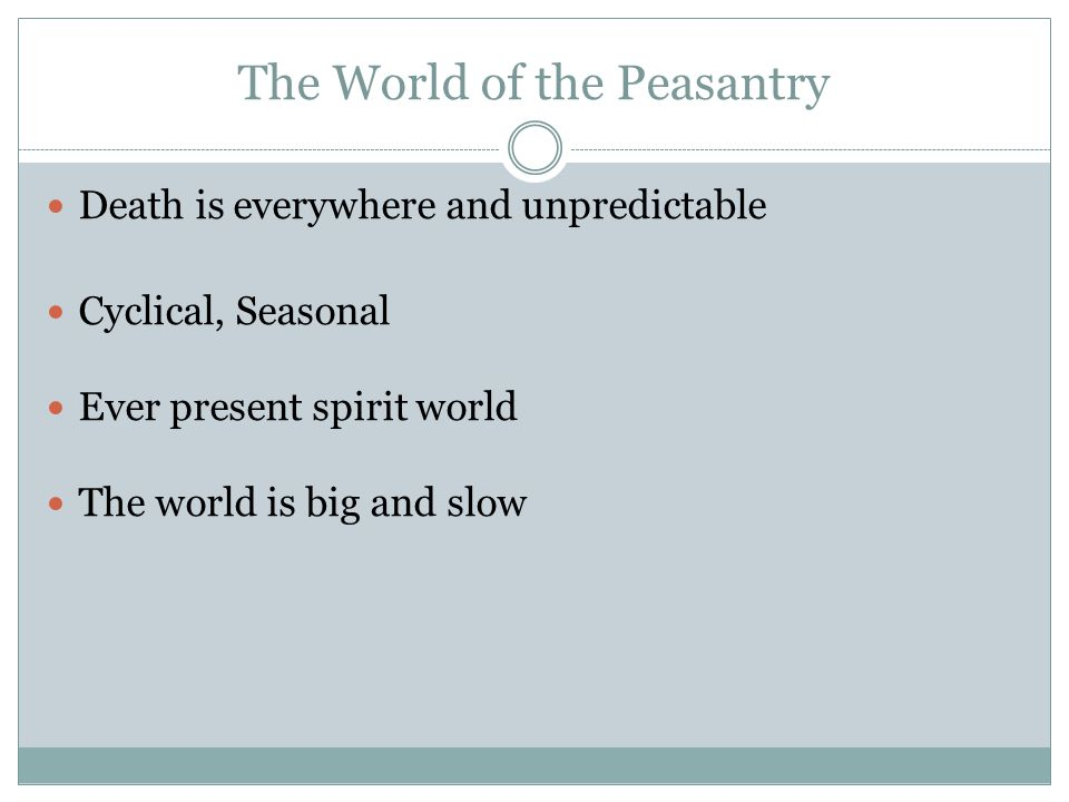 The World of the Peasantry