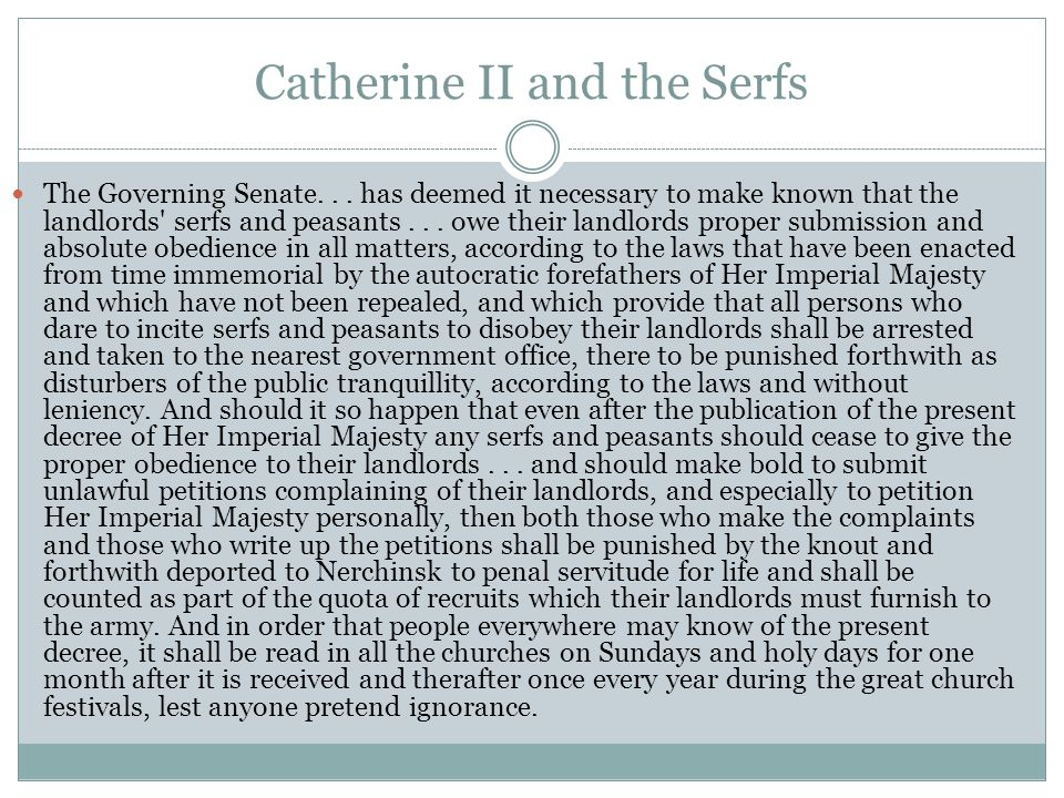 Catherine II and the Serfs