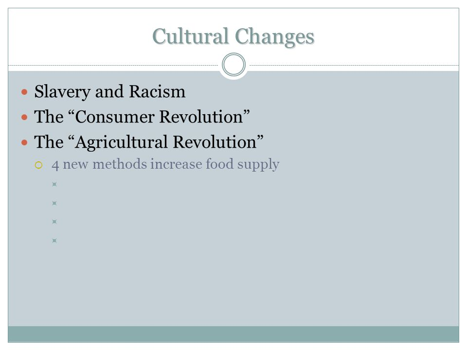 Cultural Changes Slavery and Racism The Consumer Revolution