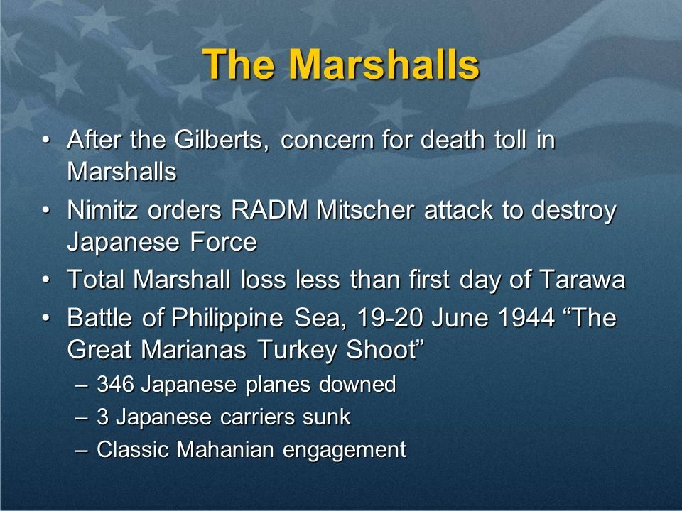 The Marshalls After the Gilberts, concern for death toll in Marshalls