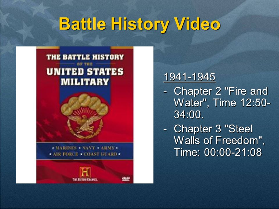 Battle History Video 1941-1945. Chapter 2 Fire and Water , Time 12:50-34:00.