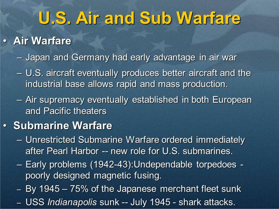 U.S. Air and Sub Warfare Air Warfare Submarine Warfare