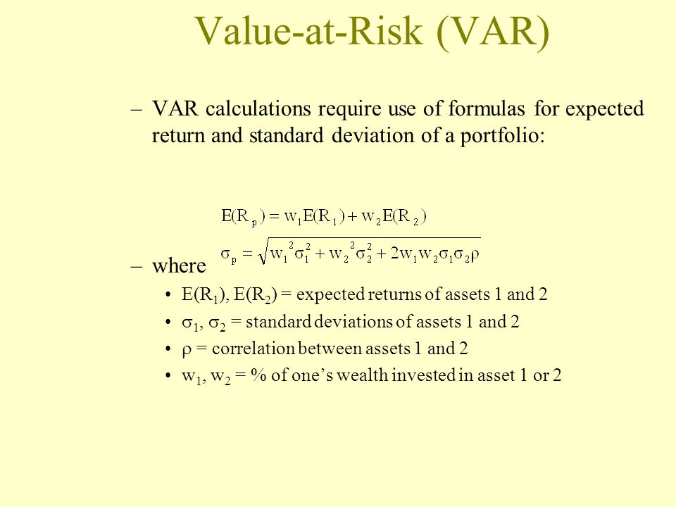 Value-at-Risk (VAR) VAR calculations require use of formulas for expected return and standard deviation of a portfolio: