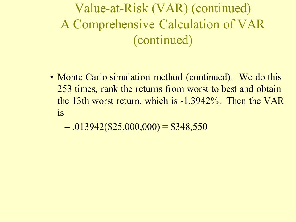 Value-at-Risk (VAR) (continued) A Comprehensive Calculation of VAR (continued)