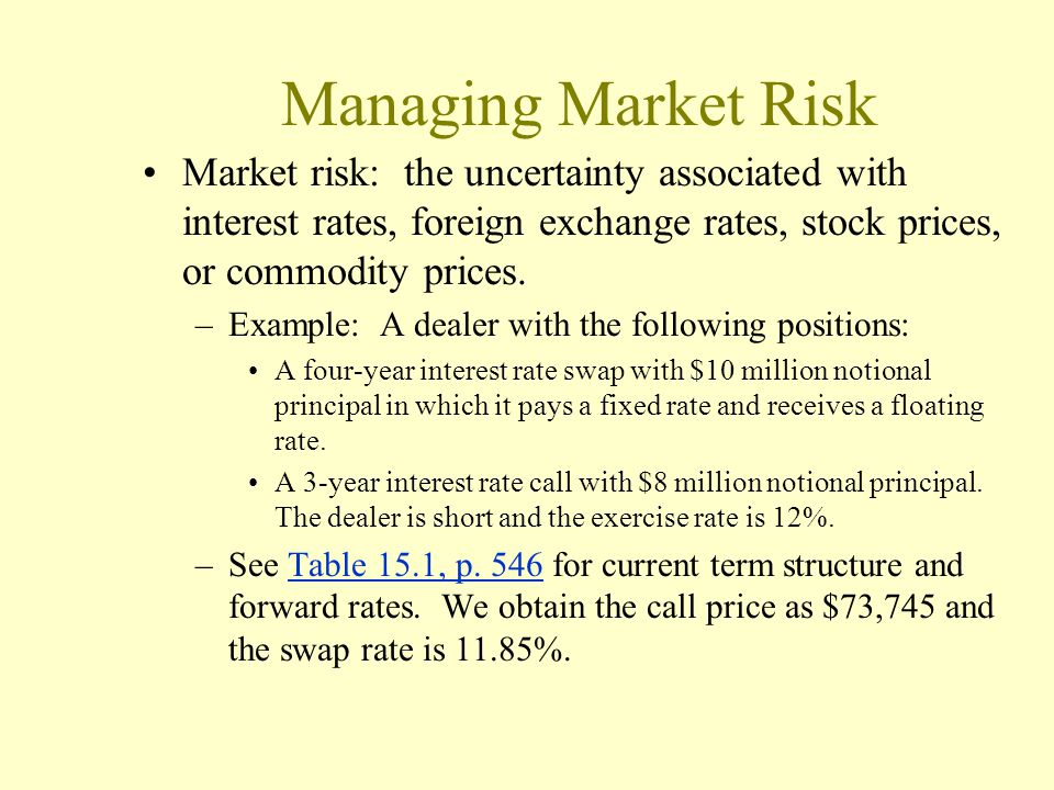 Managing Market Risk Market risk: the uncertainty associated with interest rates, foreign exchange rates, stock prices, or commodity prices.
