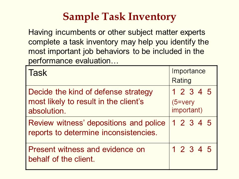 Sample Task Inventory Task