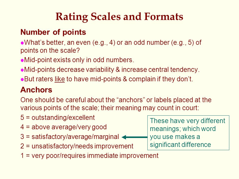 Rating Scales and Formats