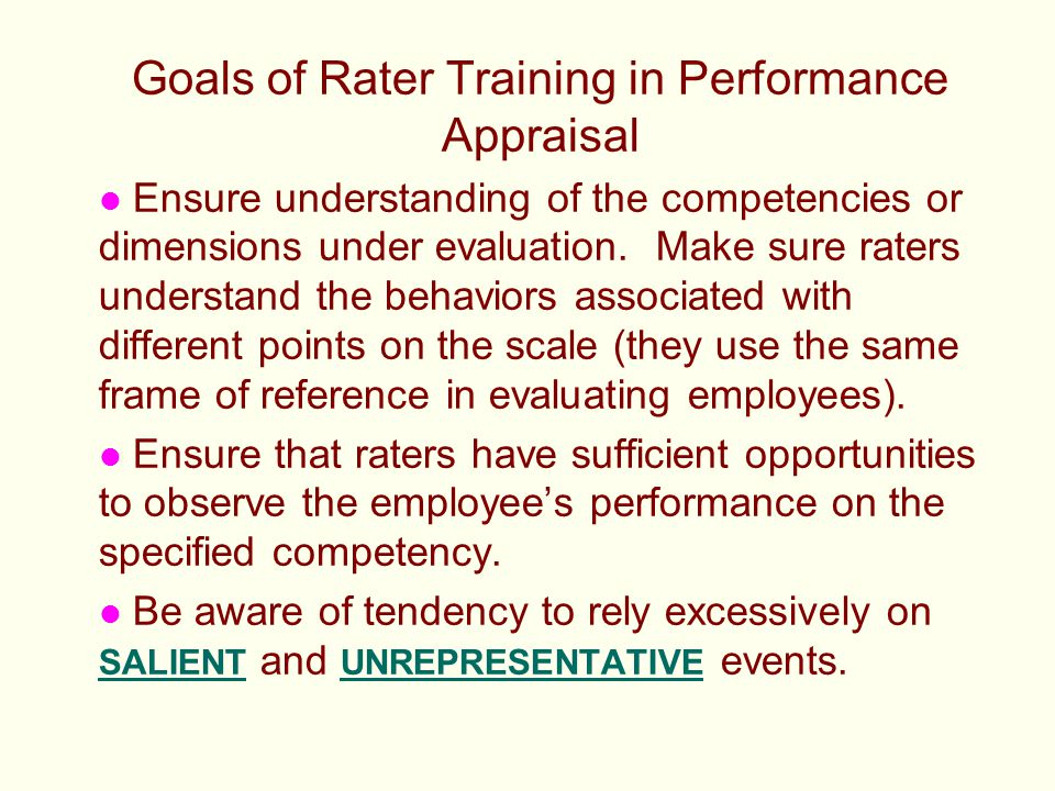 Goals of Rater Training in Performance Appraisal