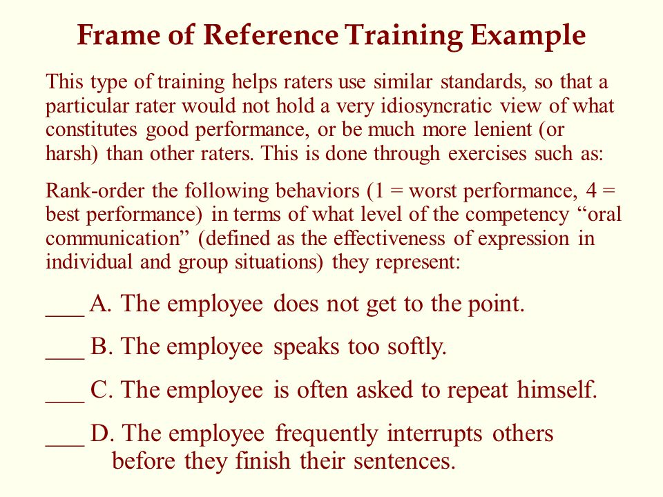 Frame of Reference Training Example