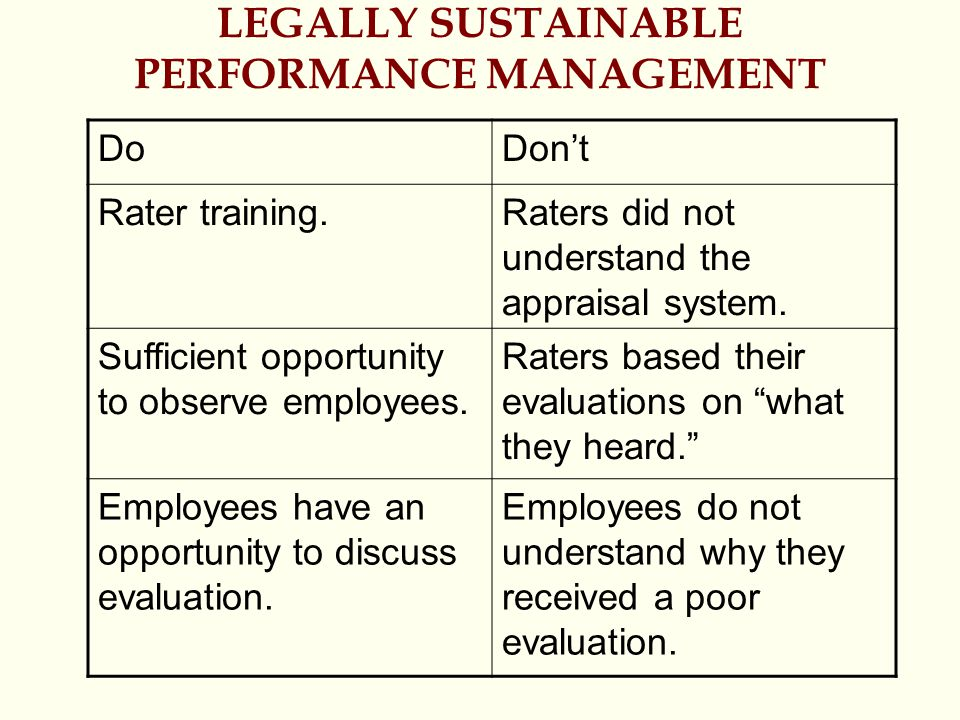 LEGALLY SUSTAINABLE PERFORMANCE MANAGEMENT
