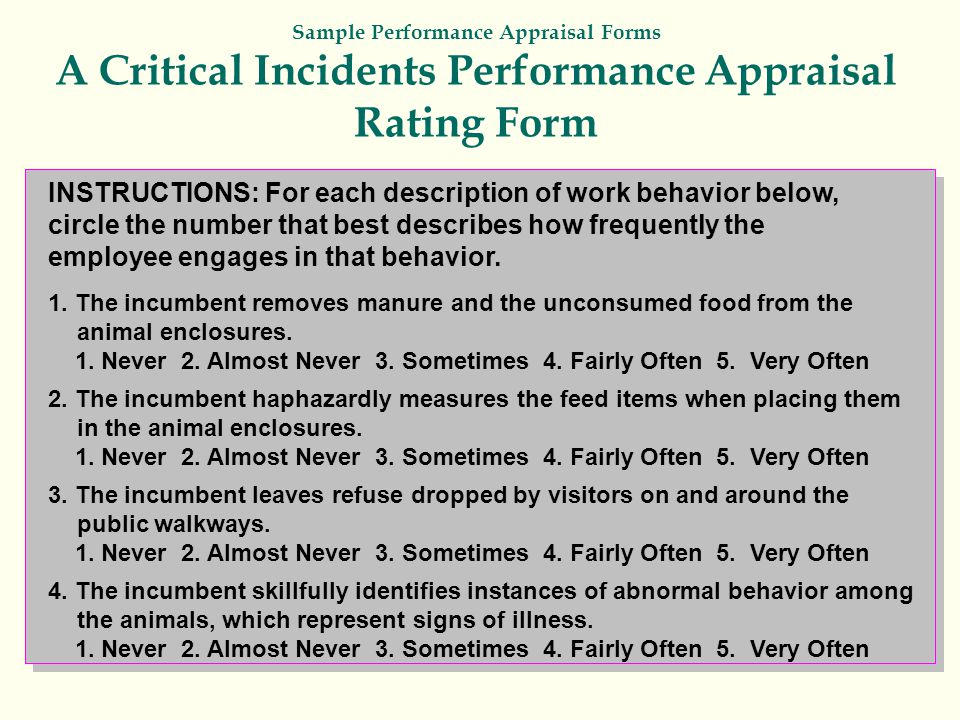 Sample Performance Appraisal Forms A Critical Incidents Performance Appraisal Rating Form