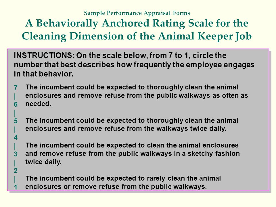 Sample Performance Appraisal Forms A Behaviorally Anchored Rating Scale for the Cleaning Dimension of the Animal Keeper Job