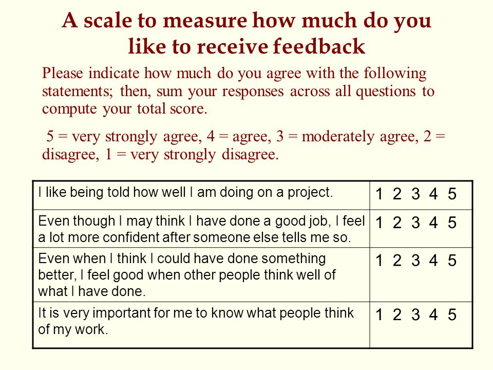 A scale to measure how much do you like to receive feedback