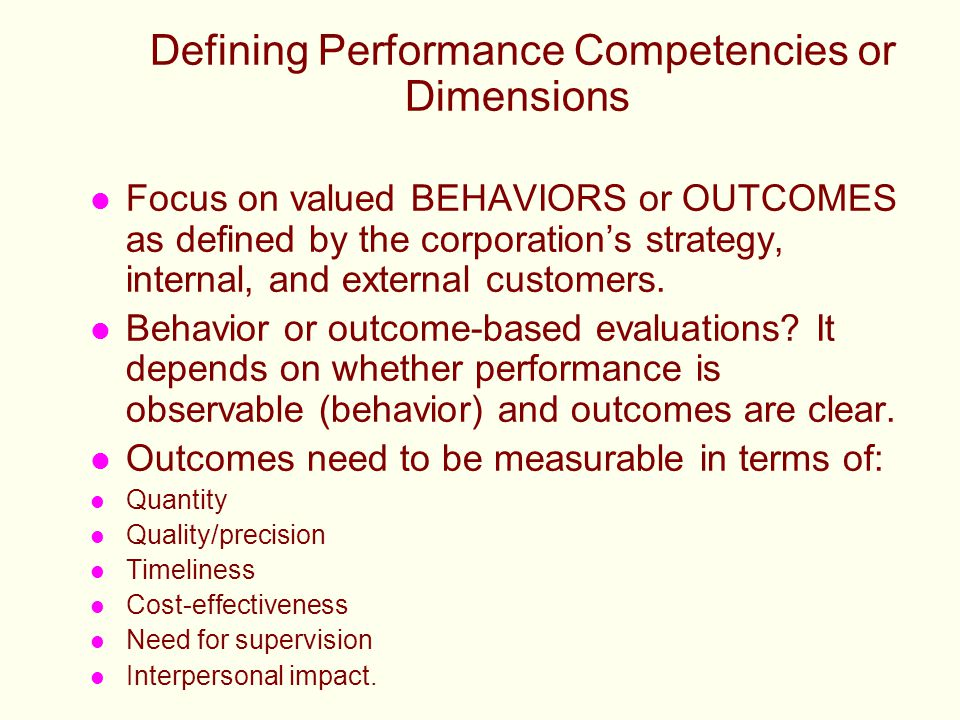 Defining Performance Competencies or Dimensions