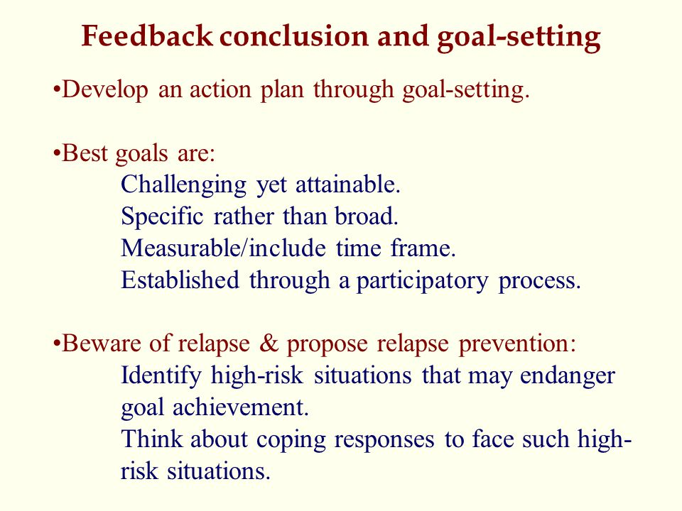 Feedback conclusion and goal-setting