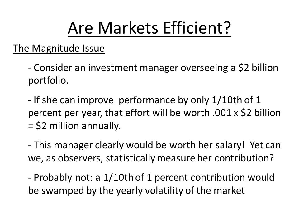 Are Markets Efficient The Magnitude Issue
