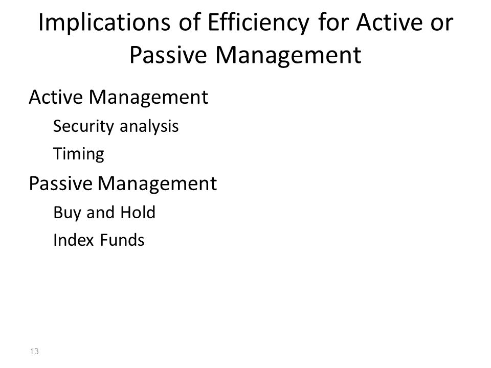 Implications of Efficiency for Active or Passive Management