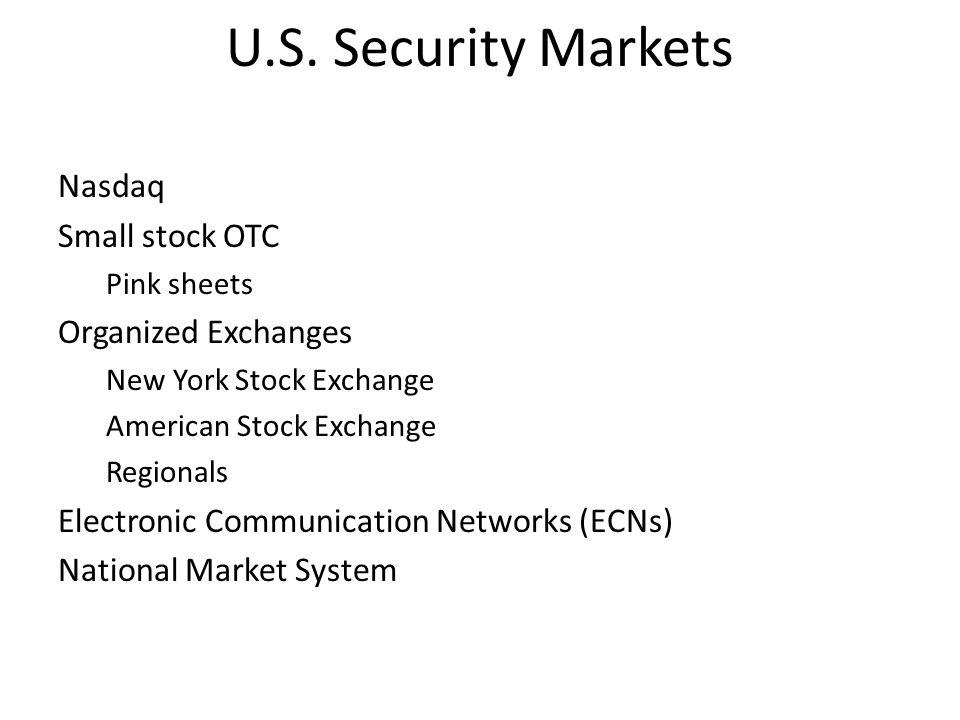 U.S. Security Markets Nasdaq Small stock OTC Organized Exchanges