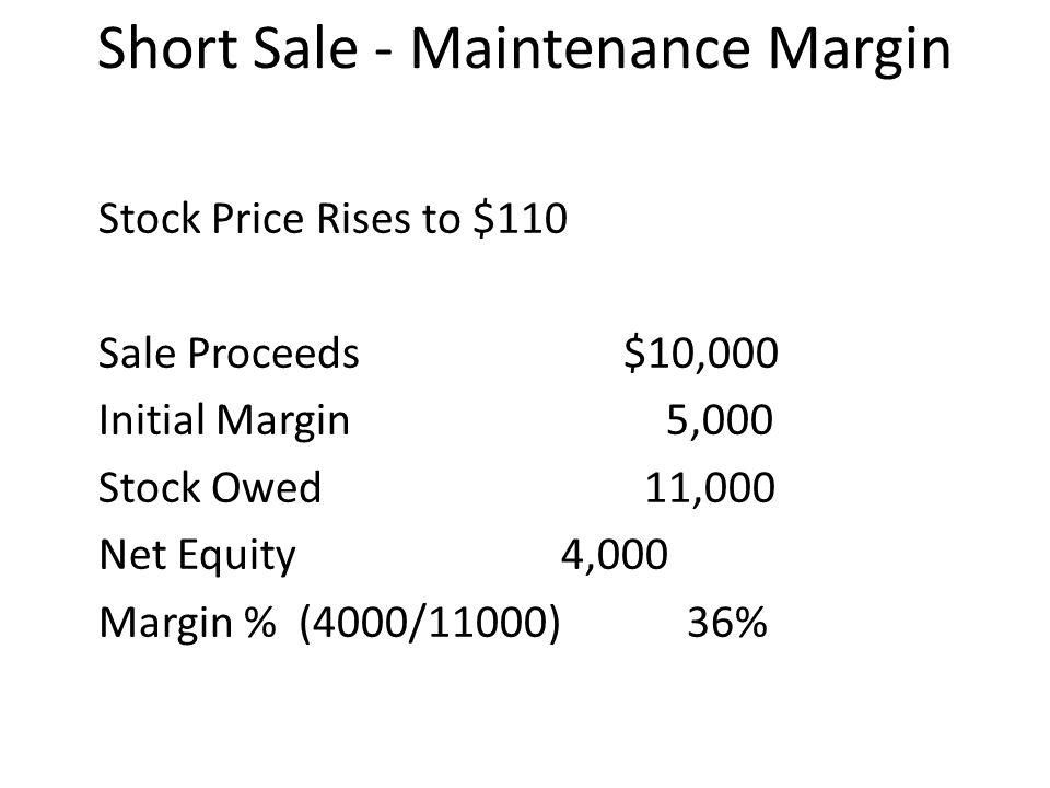 Short Sale - Maintenance Margin