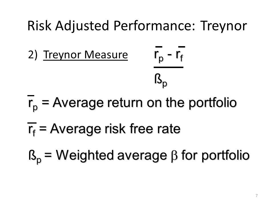 Risk Adjusted Performance: Treynor