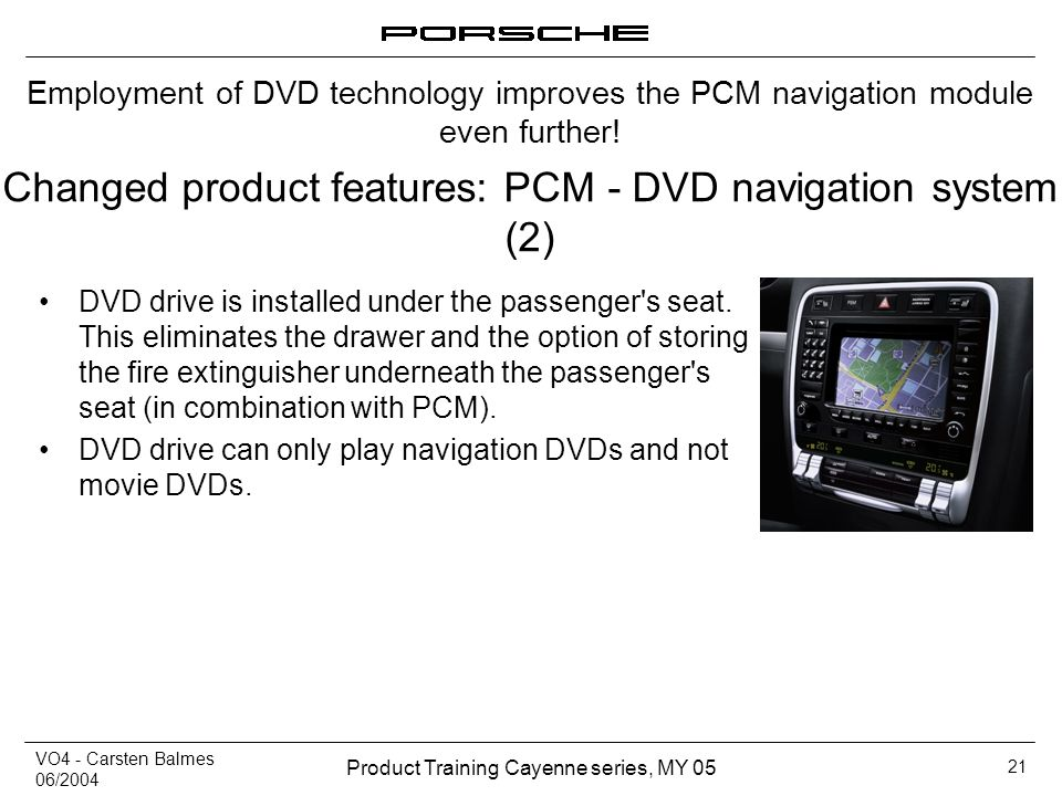 Changed product features: PCM - DVD navigation system (2)