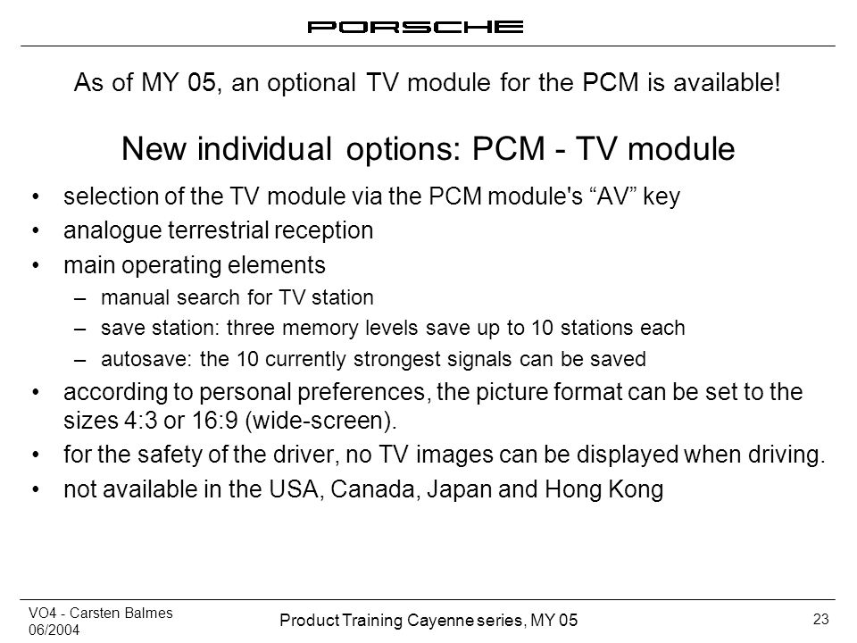 New individual options: PCM - TV module