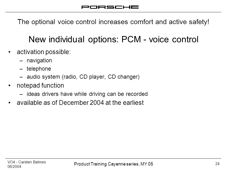New individual options: PCM - voice control