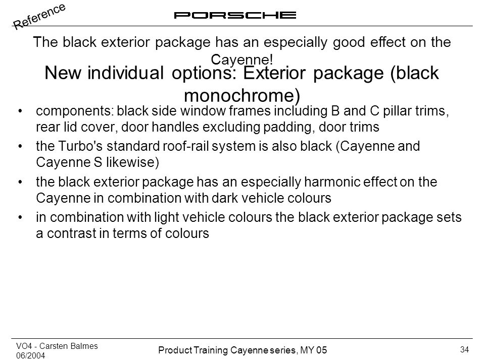 New individual options: Exterior package (black monochrome)