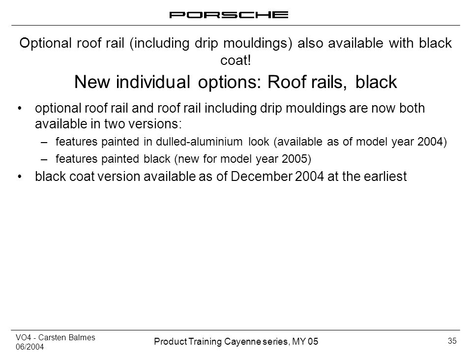 New individual options: Roof rails, black