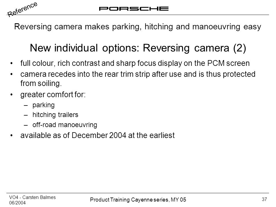 New individual options: Reversing camera (2)