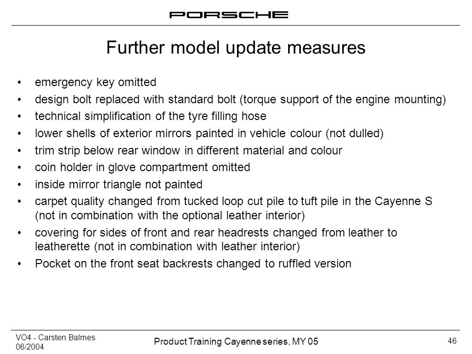 Further model update measures