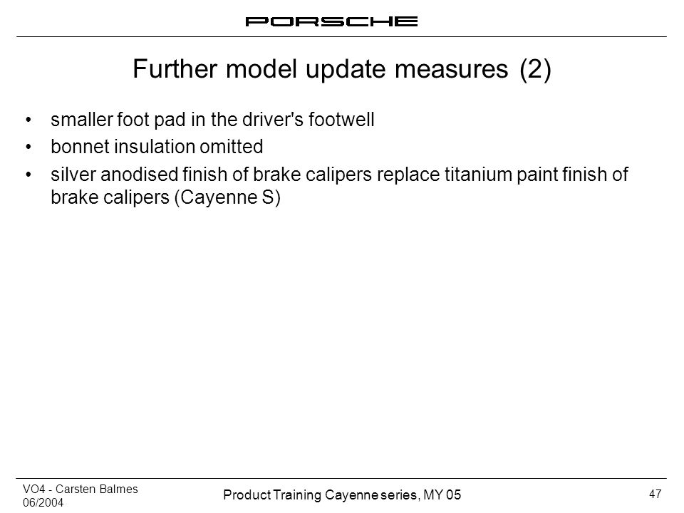 Further model update measures (2)