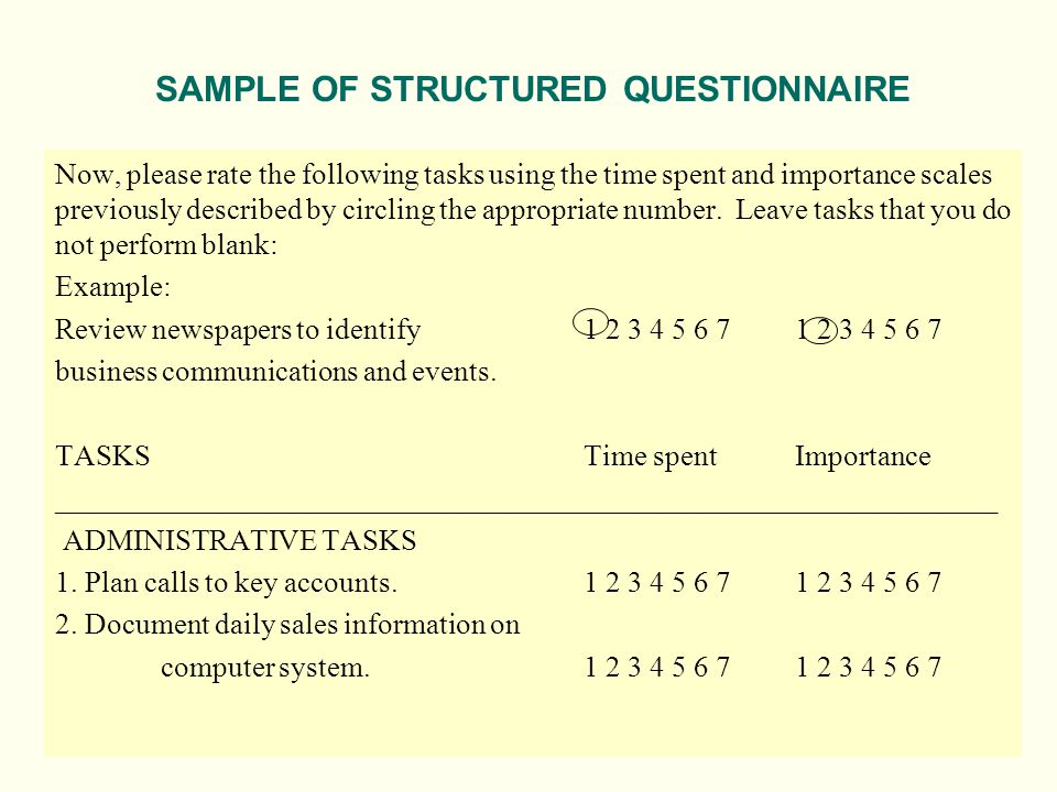 SAMPLE OF STRUCTURED QUESTIONNAIRE