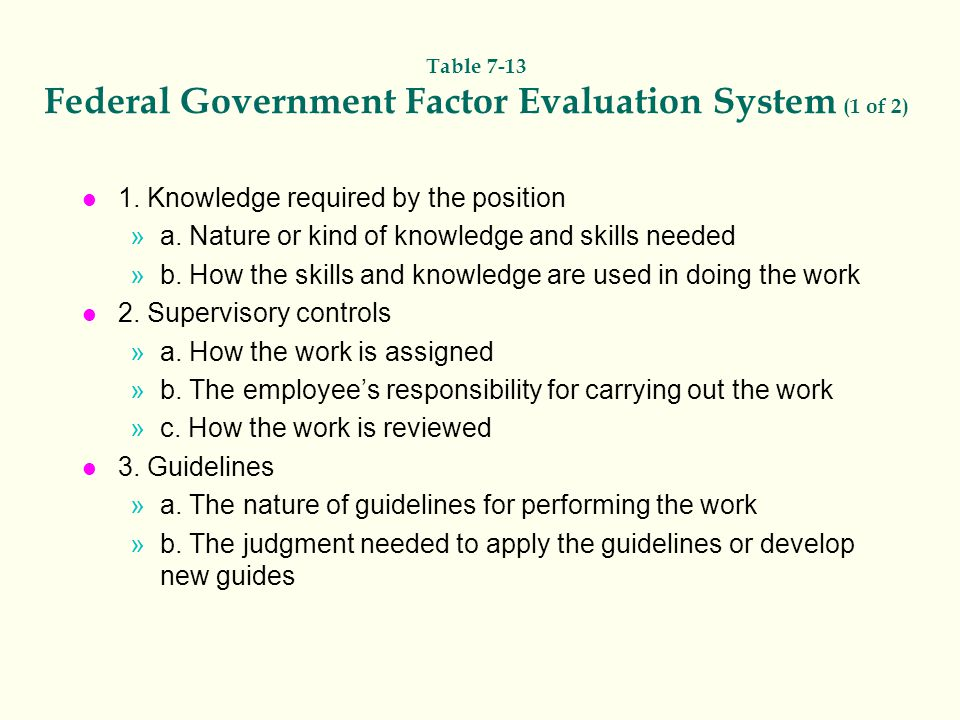 Table 7-13 Federal Government Factor Evaluation System (1 of 2)