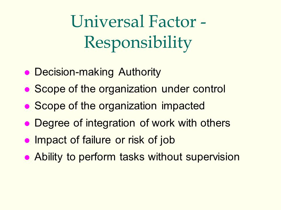 Universal Factor - Responsibility