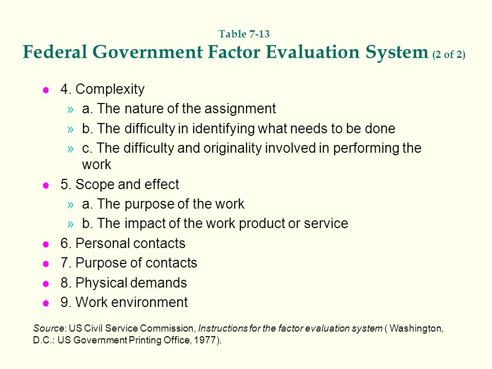 Table 7-13 Federal Government Factor Evaluation System (2 of 2)
