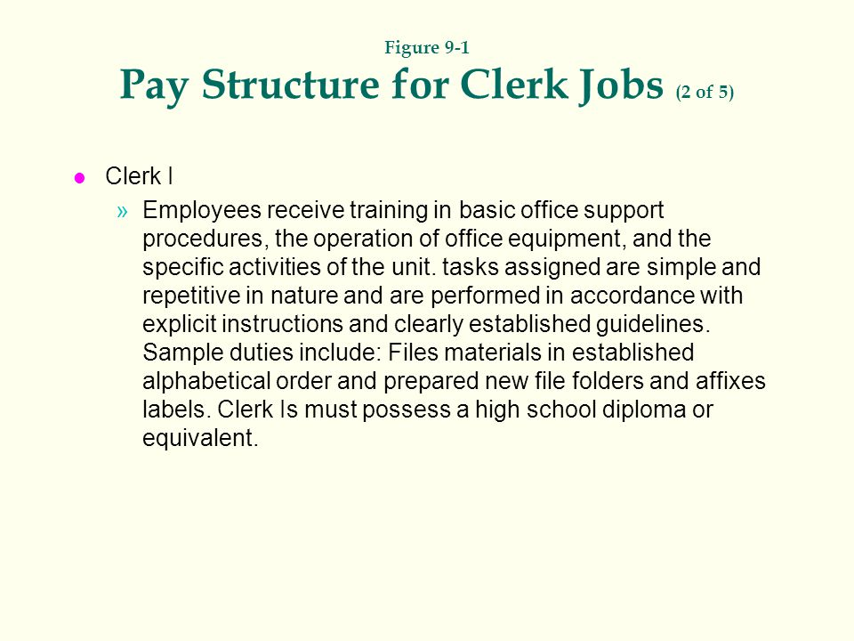 Figure 9-1 Pay Structure for Clerk Jobs (2 of 5)