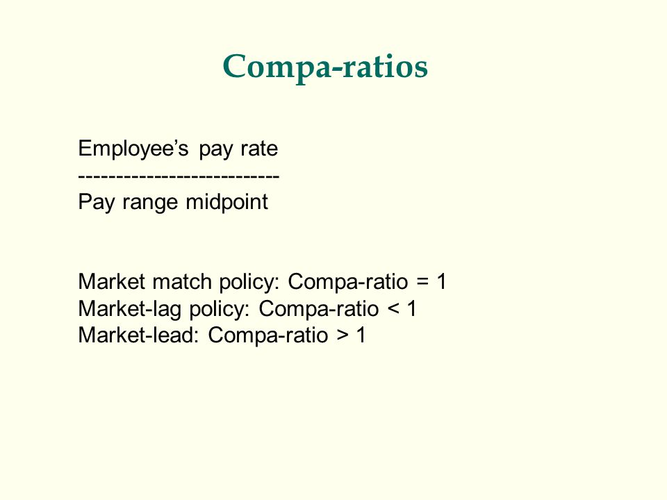Compa-ratios Employee's pay rate ---------------------------