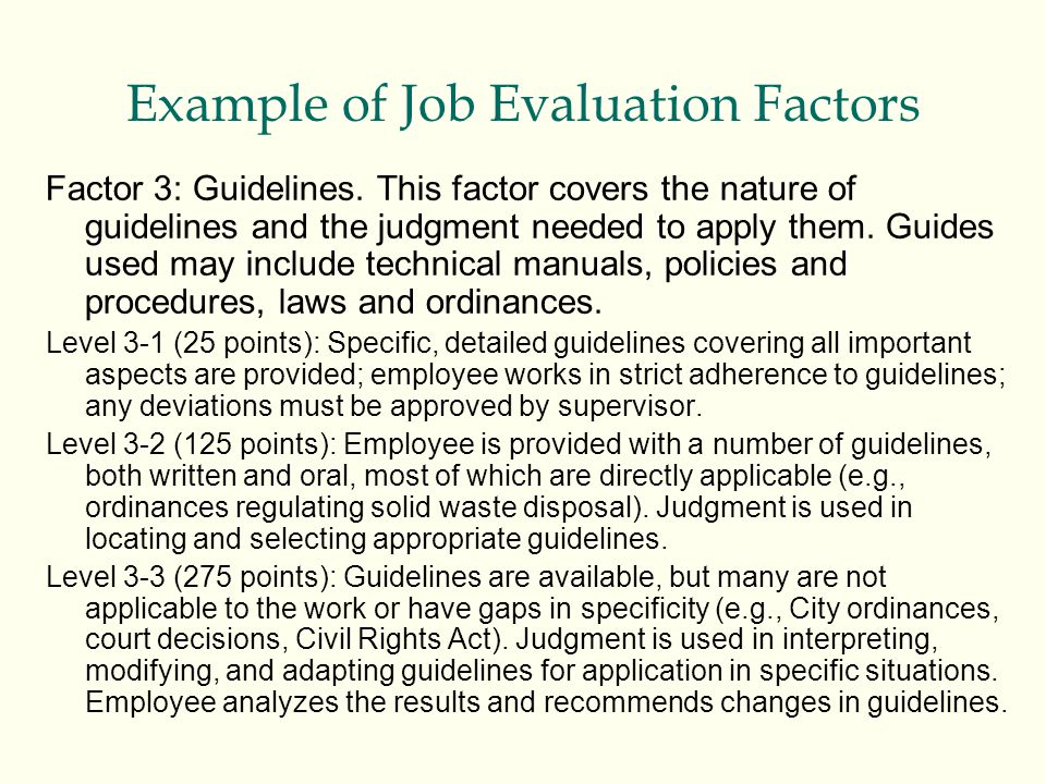Example of Job Evaluation Factors