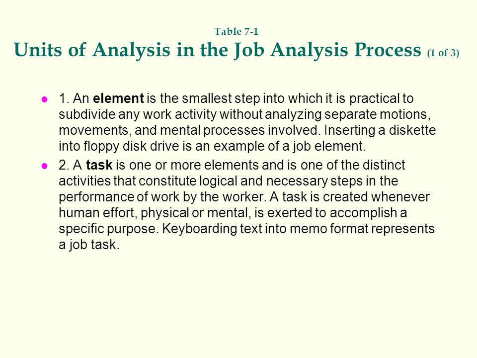 Table 7-1 Units of Analysis in the Job Analysis Process (1 of 3)