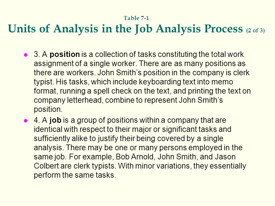 Table 7-1 Units of Analysis in the Job Analysis Process (2 of 3)