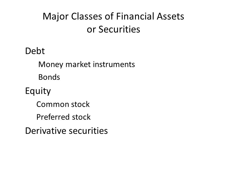 Major Classes of Financial Assets or Securities