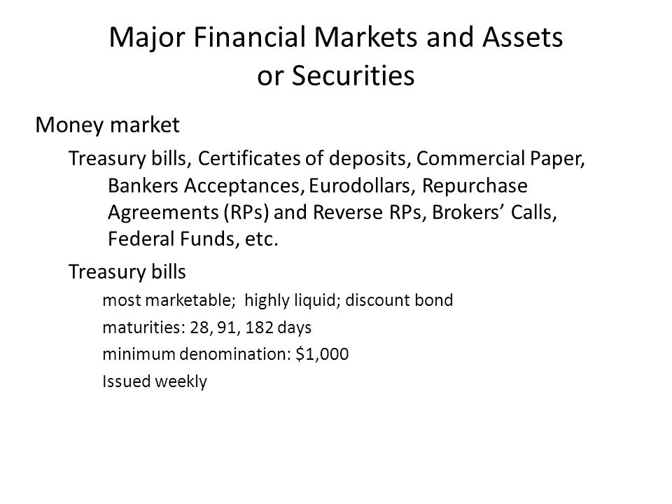 Major Financial Markets and Assets or Securities