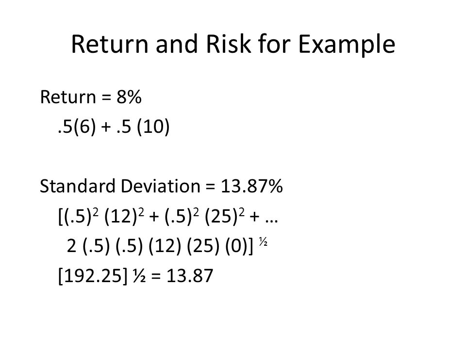 Return and Risk for Example