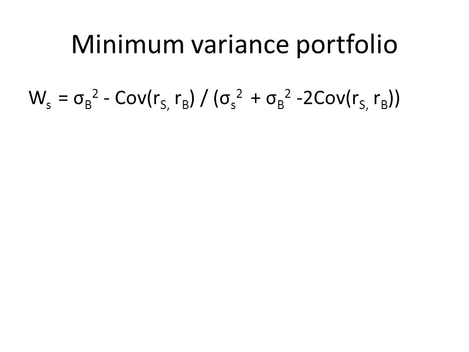 Minimum variance portfolio