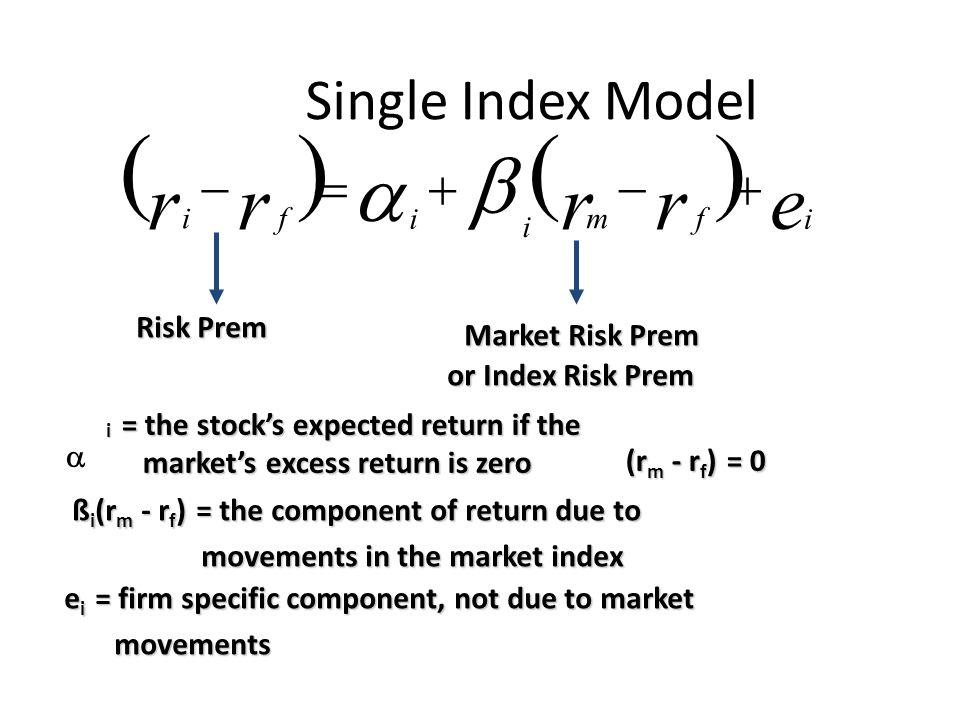 ( ) ( ) b a r r r r e Single Index Model - = + - + Risk Prem