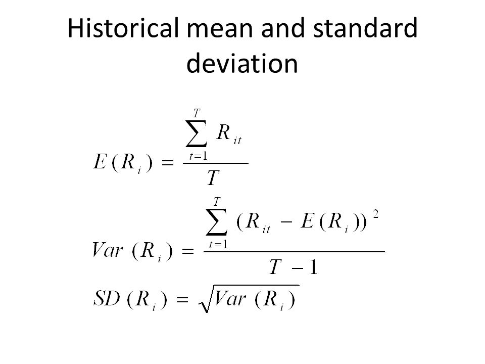 Historical mean and standard deviation