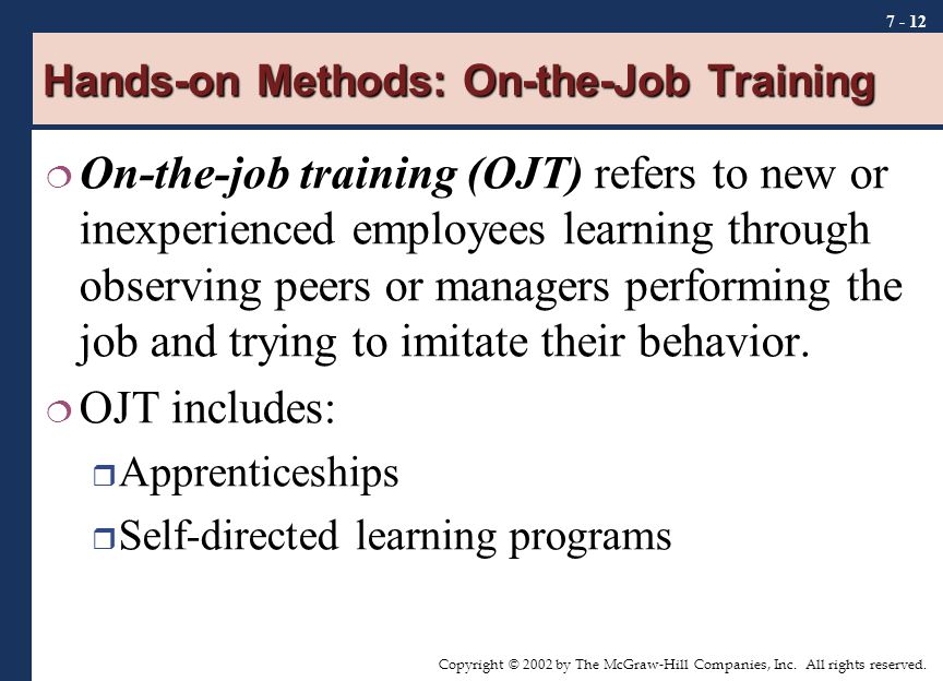 Hands-on Methods: On-the-Job Training